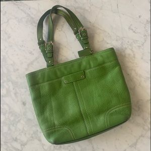 COACH Green Pebbled Leather Hamilton Shoulder Bag